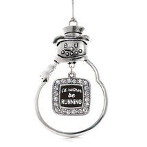 Inspired Silver I'd Rather Be Running Classic Snowman Holiday Decoration Christm - $14.69