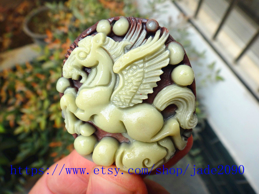 Primary image for Free Shipping -  Hand- carved good luck Natural yellow jadeite jade  Horse charm