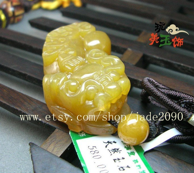 Free Shipping - good luck Hand carved Natural yellow jade carved Pi Yao jadeite