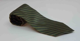 Bill Blass NEO 100% Silk Striped Olive Necktie - $15.99