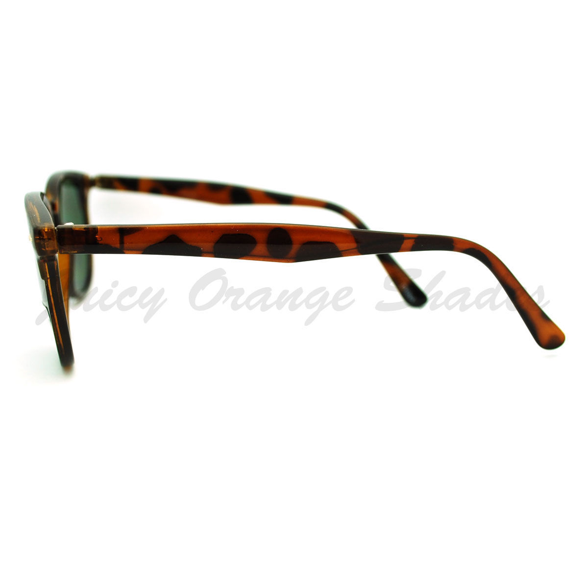 Thin Round Side Horn Rimmed Sunglasses Unisex Vintage Retro