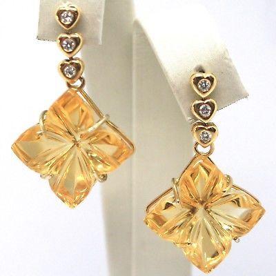Drop Earrings in 18k Yellow Gold, Diamonds, Quartz citrine, Hearts, Flowers