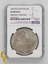 1807PTS PJ BOLIVIA 8R XF DETAILS By NGC Silver Coin 8 Reales KM-73 - $195.13