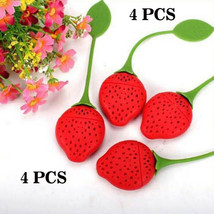 4 Pcs Strawberry Shape Silicone Leaf Loose Tea Infuser Filter Strainer Ball  - $16.23