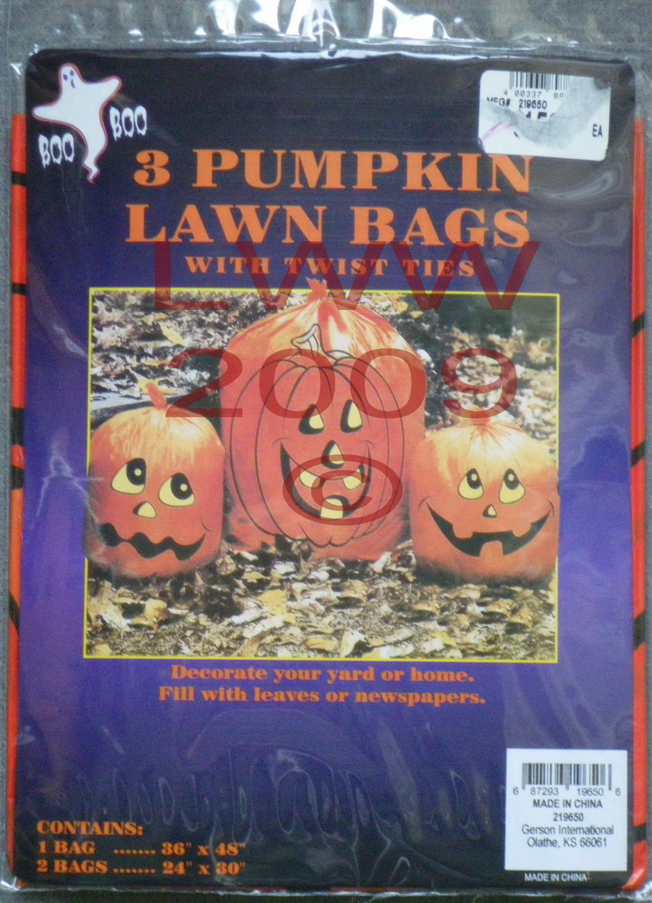 3 Pumpkin Halloween Jack-O-Lantern Leaf Lawn Bags with twist ties