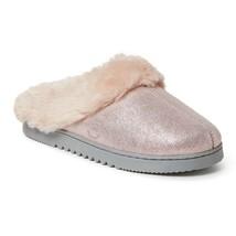 Dearfoams Pink Shimmer Genuine Suede Slip-On Scuffette Slippers - Women's 8 - $50.00