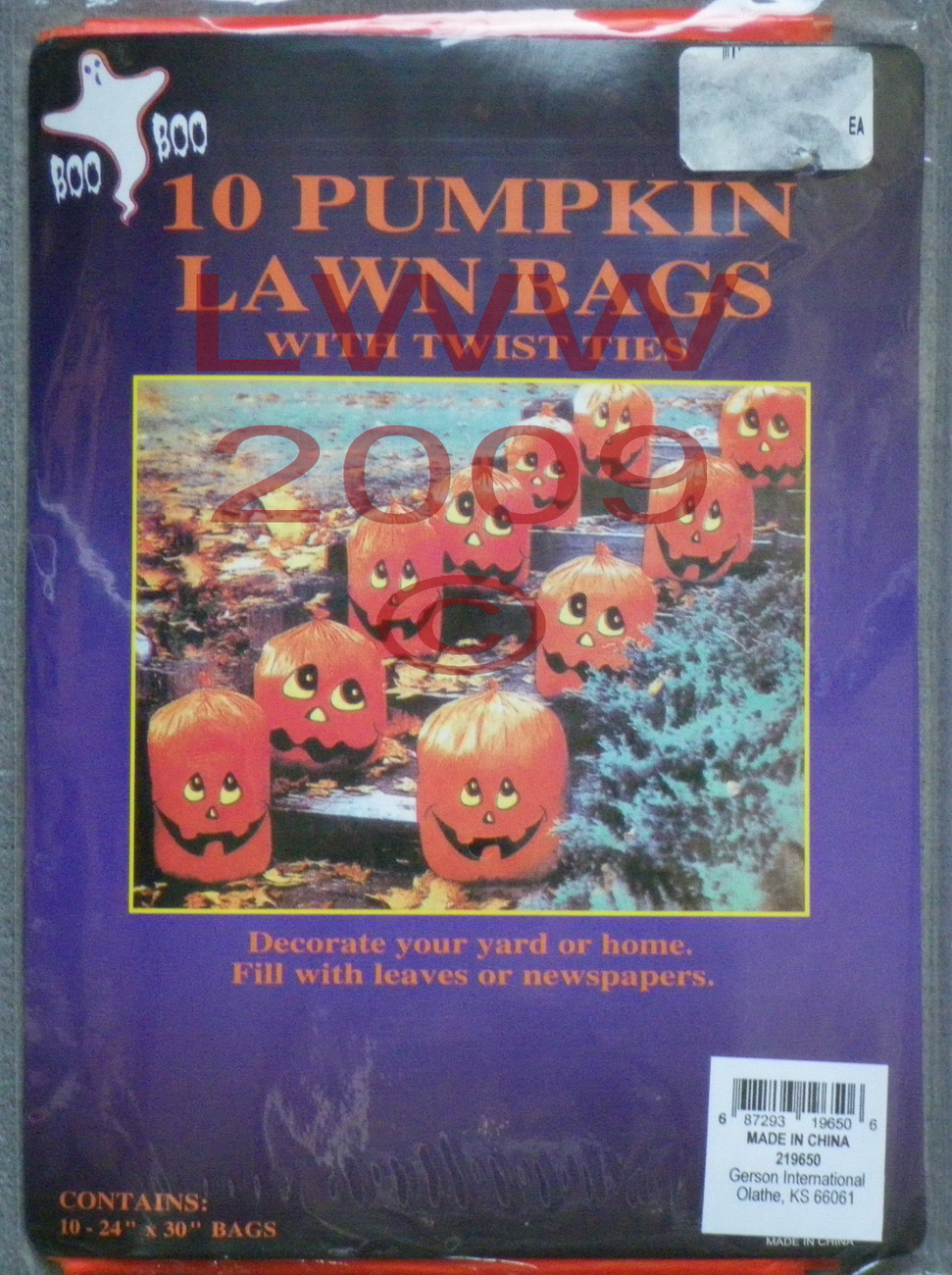 10 Pumpkin Halloween Jack-O-Lantern Leaf Lawn Bags with twist ties