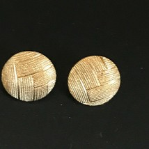 Estate Monet Marked Etched Weave Goldtone Round Circle Button Post Earrings for - $13.09