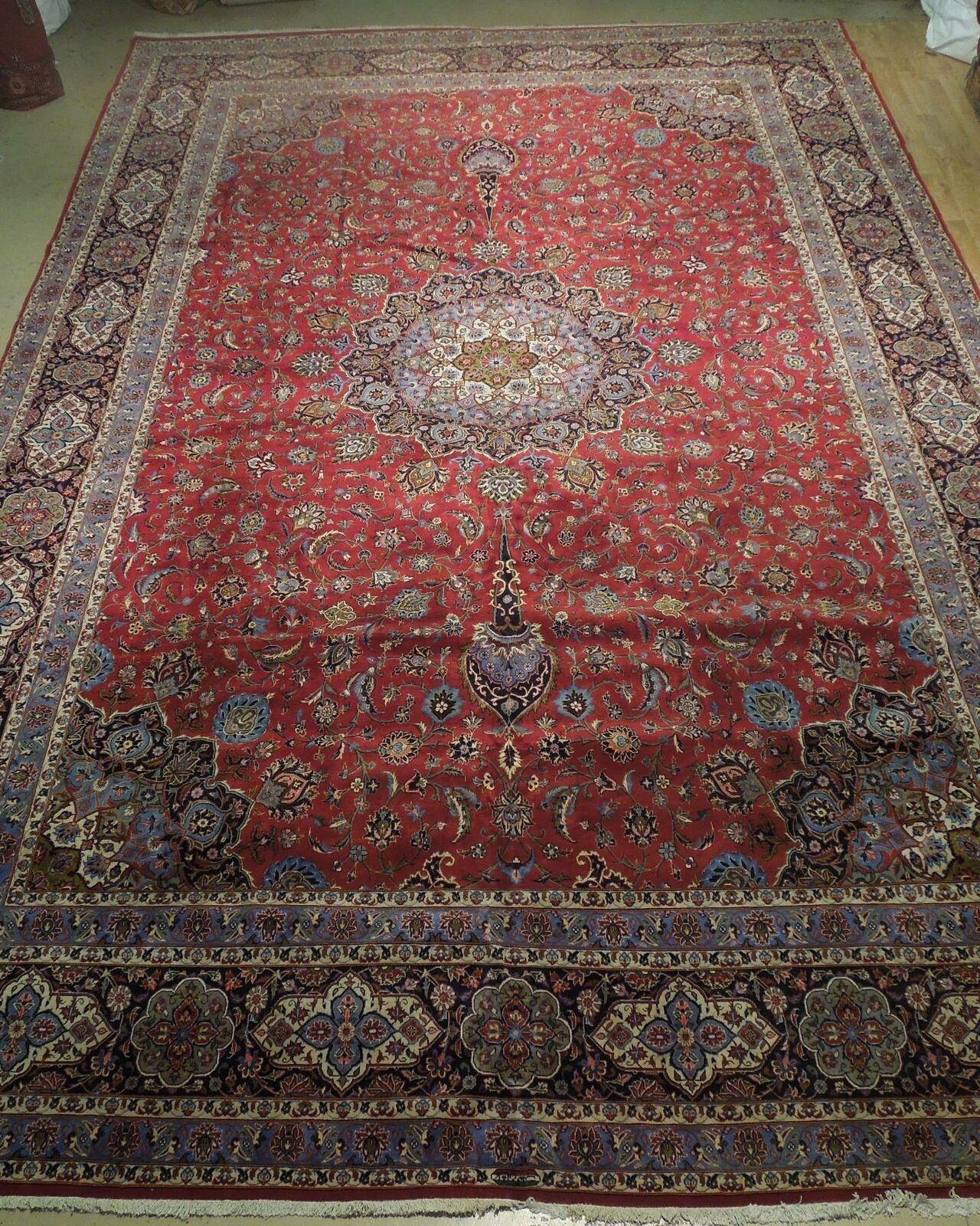 11x17 Red Traditional Handmade Fine Quality Sheik Safi Najaf Persian Rug image 3