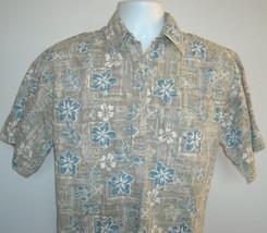 MENS GO BAREFOOT HAWAIIAN SHIRT MEDIUM TROPICAL HIBISCUS TAN COTTON ALOHA - $24.70