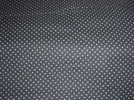 """White Polka Dots on Black Fabric 100% Cotton 44"""" Wide By The Half Yard 1/2 - $3.99"""