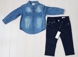 AG Adriano Goldschmied Baby Boys Denim Button Shirt & Navy Pants Set (12... - $49.93