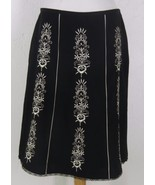 ANN TAYLOR LOFT A Line Embroidered Black White ... - $19.44