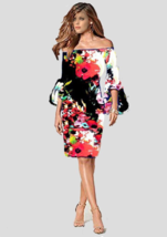 Women's Floral Off The Shoulder Sheath Dress With Preblum Sleeves XXS-XL  - $135.00