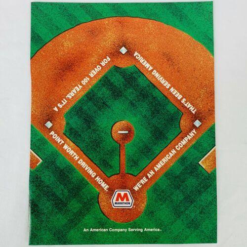 Vintage 1991 Marathon Gasoline MLB Major League Baseball Magazine Ad  - $9.47