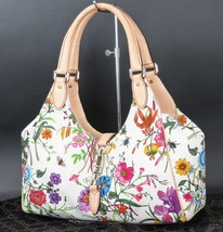 Auth GUCCI Jackie Beige Flower Design Canvas Leather Shoulder Bag Purse ... - $569.00