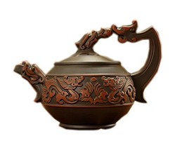 Embossed Double Dragons Purple Clay Teapot Retro Black Kettle, 300ml - $34.55