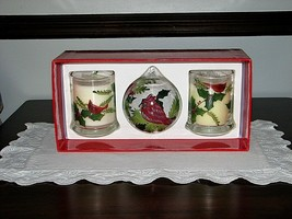 NEW Christmas Set of Cardinal and Holly Candles Cardinal Ornament Bird F... - $13.95