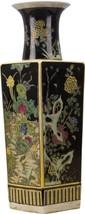 Vintage Style Chinese Porcelain Square Black Vase  Floral Garden Scene,1... - $282.15
