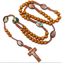 Natural Wood Rosary Beads w/ Cross Images of Saints From Jerusalem Holy ... - $9.90