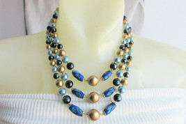 Sparkling Blue Art Glass Bib Choker Necklace 3 Strand Black Blue Gold JAPAN A+ - $31.50