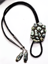"""Sterling Fred Guerro Pale Blue Green Spiderweb Turquoise Bolo Tie 2-1/8""""... - $989.99"""