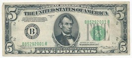 1934-A $5 FED RESERVE NOTE-PRINT ERROR-SERIAL # PLACED LOW-NICE NOTE-SHI... - $44.95