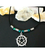 Necklace with Pentacle Pendant Amulet Vintage Glass Handmade Beads Gift ... - $17.95