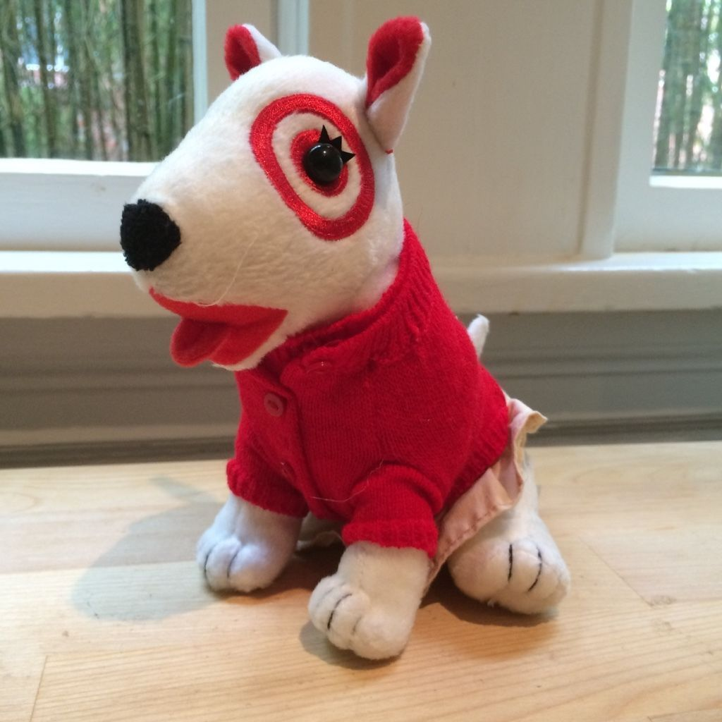 Target Red And Khaki Girl Dog Plush Stuffed Animal Bullseye Boys Girls