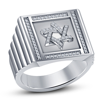 White Gold Plated 925 Sterling Silver Round Cut CZ Jewish David Star Men's Ring - $106.30
