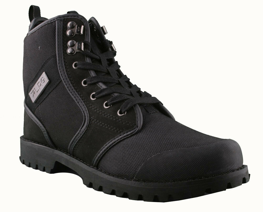 LRG Sycamore Black Leather Nylon Combat Hiking Boots 8 US