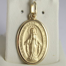SOLID 18K YELLOW GOLD MIRACULOUS MEDAL, VIRGIN MARY, MADONNA, 1.10 MADE IN ITALY image 1