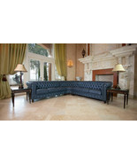 Classic Chesterfield Blue Grey Micro Leather Sectional Living Room Seati... - $2,618.03