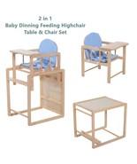 2 in 1 Baby Wooden Feeding High Chair & Table Set Padded Cushion Boys Se... - $78.98