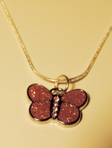 Sparkly Pink Glitter Butterfly Necklace (Pendant w/chain) - $7.00