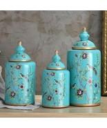 Vintage European Flower and Bird Ceramic Storage Jar Vase Decoration Porcelain - $56.14 - $185.04