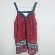 Ashley Stewart Size 18-20 Sleeveless Tank Lace Trim Strap Flowers Red Bl... - $21.78