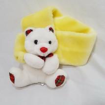 """Teddy Bear Scarf Plush Fuzzy Size Toddler 25"""" Long Yellow White Nova Toys - $15.78"""