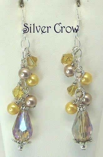 Smoky Topaz Crystal Teardrop Earrings with Glass Pearl & Crystal Clusters