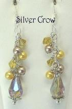 Smoky Topaz Crystal Teardrop Earrings with Glass Pearl & Crystal Clusters - $13.99