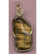 TIGER EYE WIRE WRAPPED PENDANT - $18.00