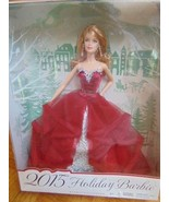 Dolls Holiday Barbie 2015 Red Gown-Blonde-Pearl Earrings-Silvery Brocade... - $31.99