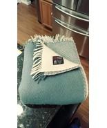 Vtg Samband of Iceland reversible wool blanket throw shades blue & white... - $90.20