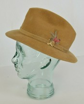 Vintage Mens STETSON Fedora Hat w Feathers Camel Wool Felt USA Made sz 7 - $56.99