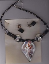 Dichroic Glass necklace and Black Earring Set - $18.00