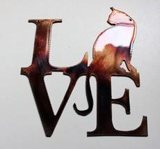 """LOVE my Cat Copper/Bronze Metal Wall Art 7"""" tall x 6"""" wide - $9.89"""