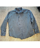 CLAIBORNE  MEN'S COTTON SHIRT XL Black White Striped V1 - $7.95