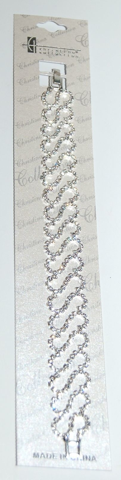 Christina Collection Silver Color Statement Bracelet Inlaid Diamond Like Gems