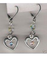 Swarovski Crystal Clear AB Heart Charm Earring - $9.49