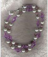 HANDMADE Lavendar Cats Eye & Swarovski Crystal Necklace - $28.50